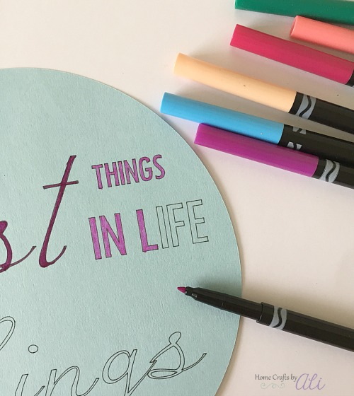 Color printed text saying with fine tip crayola markers