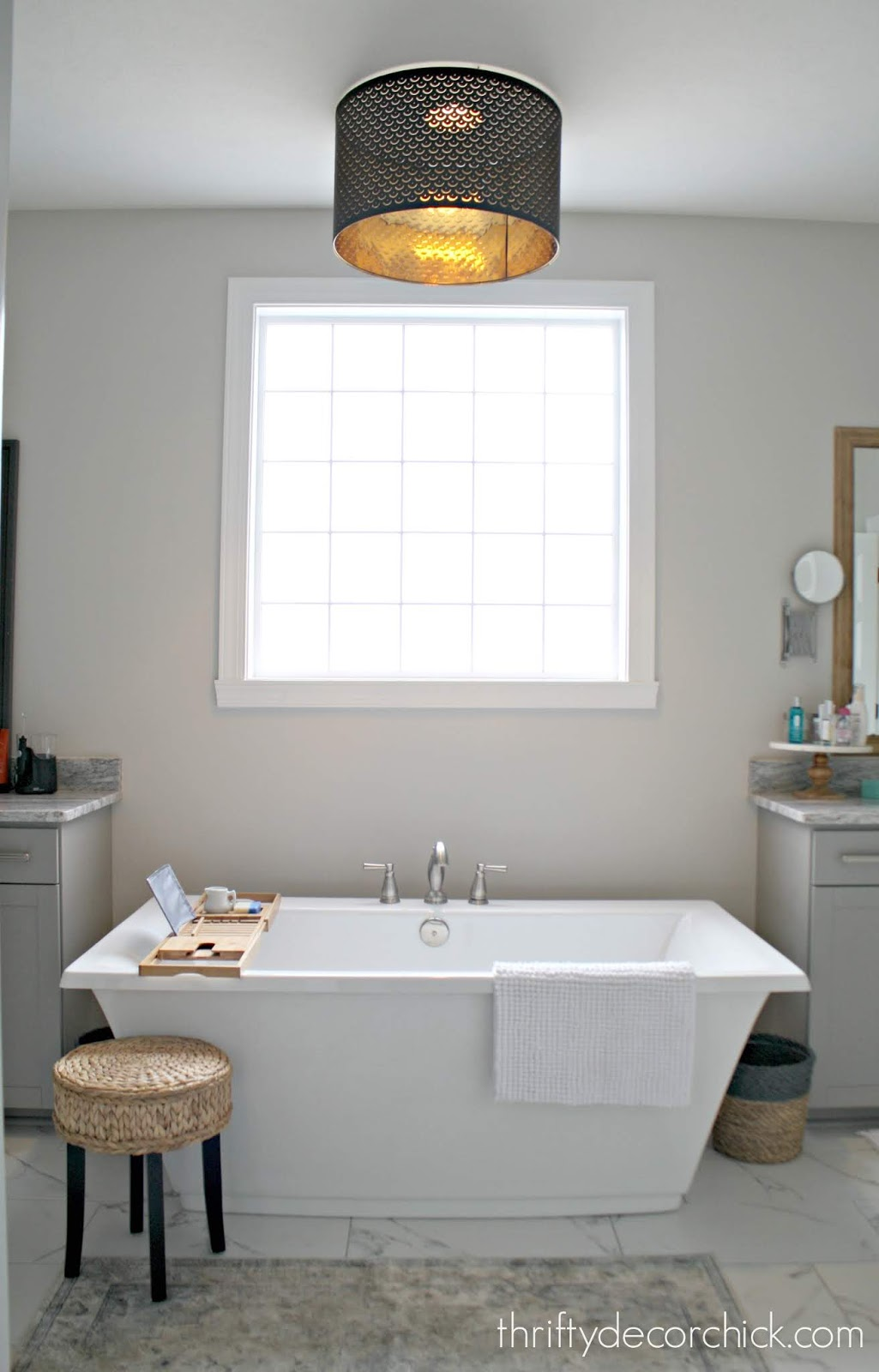 DIY faux pendant over tub