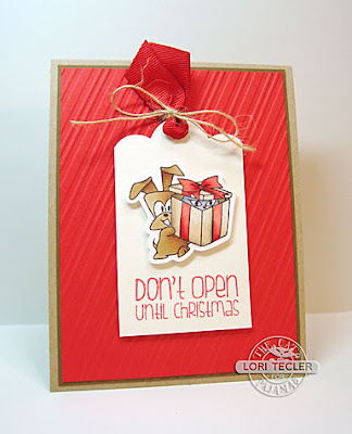 Don't Open Until Christmas card-designed by Lori Tecler/Inking Aloud-stamps and dies from The Cat's Pajamas