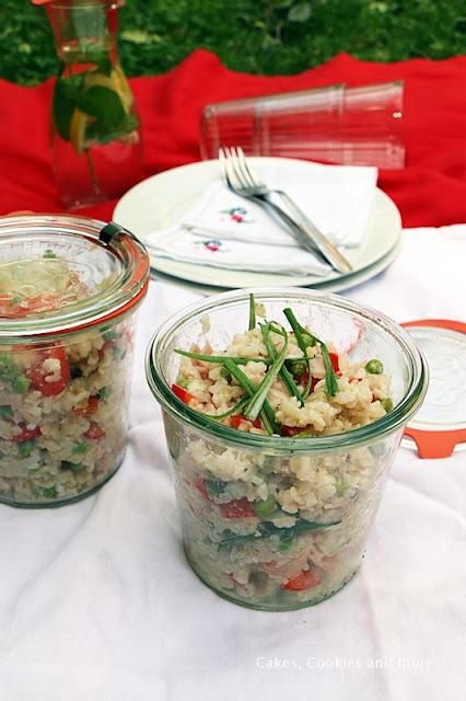 Reissalat mit Vollkornrreis und Erbsen
