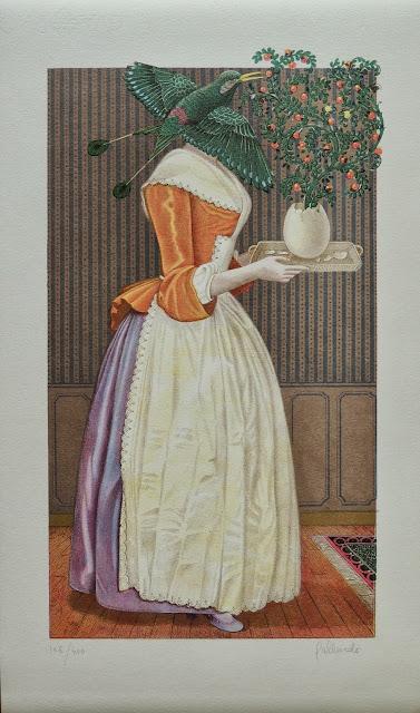 Gervasio Gallardo litografía surrealista mujer caracol