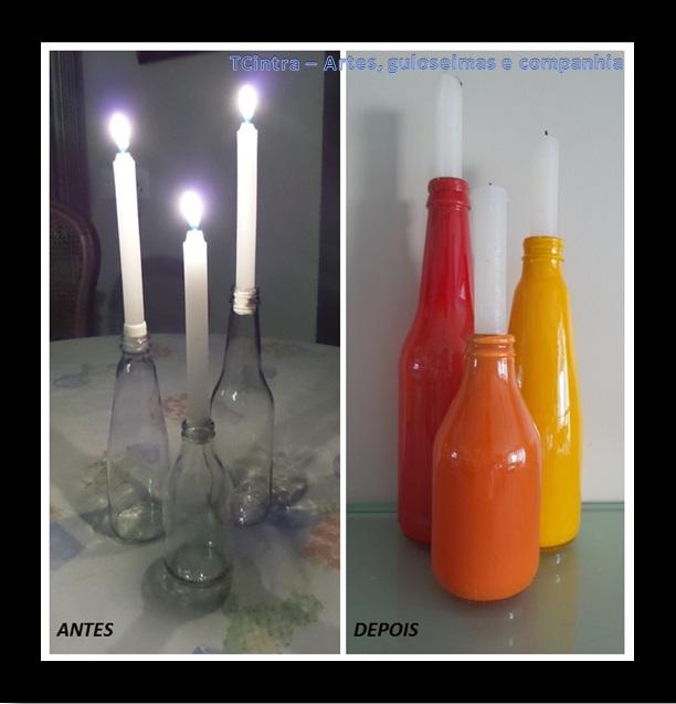 ARTESANATO; DECORAÇÃO; GARRAFAS; RECICLAGEM; pintura em garrafas; arte com garrafas; reutilizando garrafas; lixo é luxo; porta vela com garrafas; candelabro com garrafas