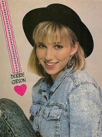 Debbie Gibson wearing acid-washed denim