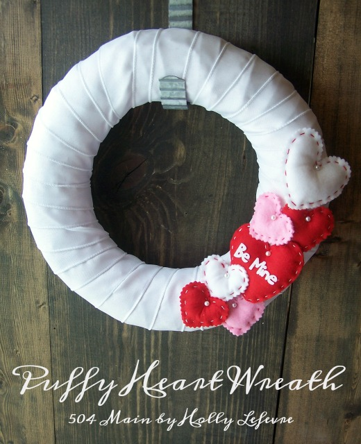 Puffy Heart Valentines Wreath