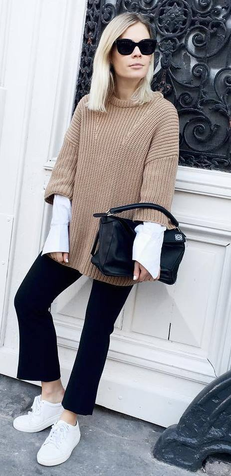fall fashion outfit: knit + shirt + black pants + bag + sneakers
