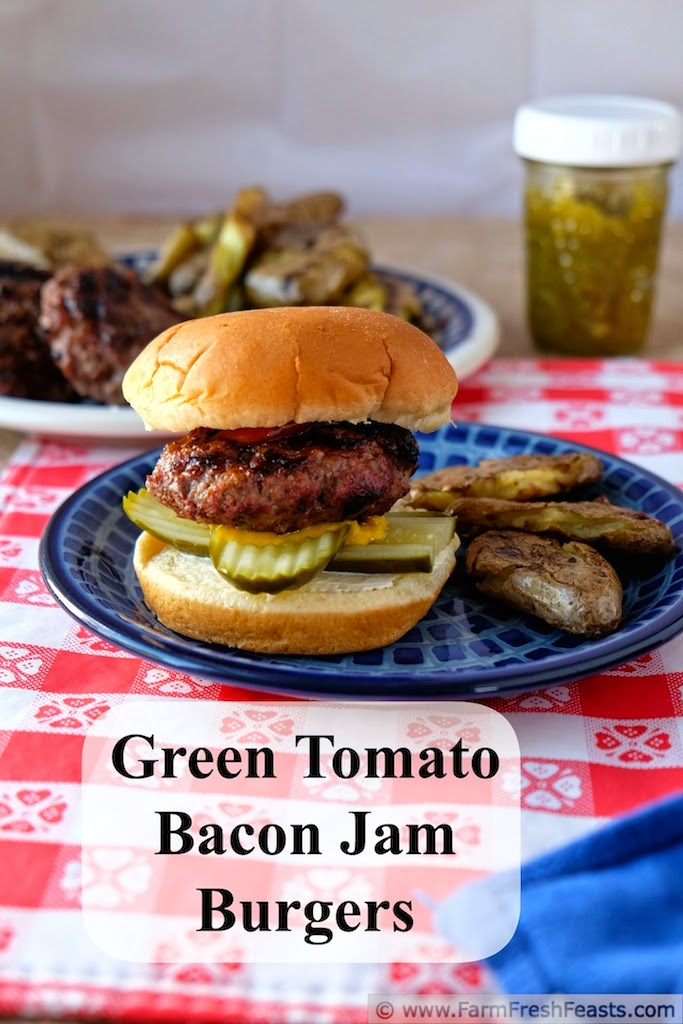 A simple burger with a little something extra--green tomato bacon jam mixed into the beef makes each bite juicy and full of flavor.