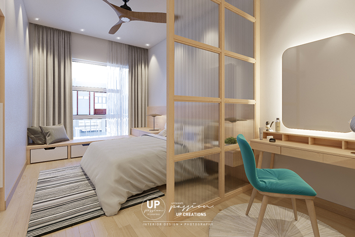 Bandar rimbayu penduline master bedroom with reeded glass feature divider in wood texture frame and daybed at window area
