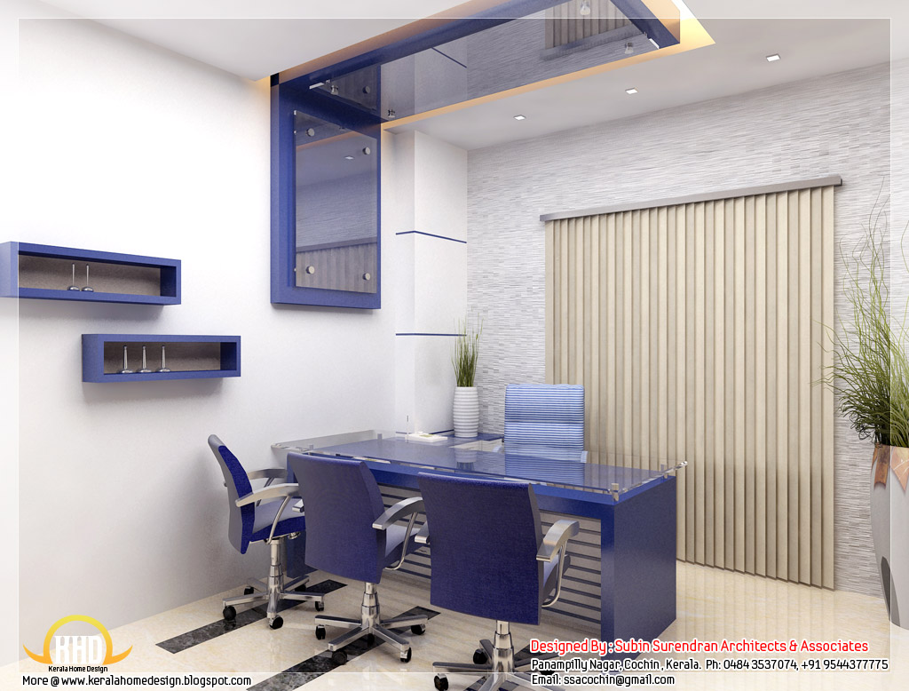 Beautiful 3d interior office designs kerala home design for Office room interior design photos