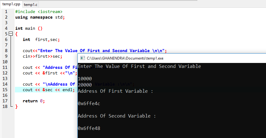 C++ Program To Find The Address Of Variable
