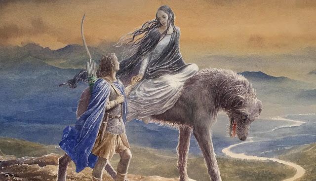Ο Μπέρεν και η Λούθιεν καβάλα στον Χουάν. Εικονογράφηση του Alan Lee για το Silmarillion