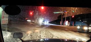 タクシー乗車中に見た秋田市内の雪景色