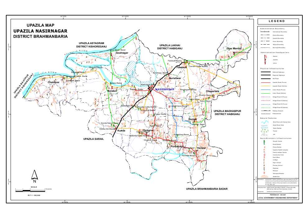 Nasirnagar Upazila Map Brahmanbaria District Bangladesh