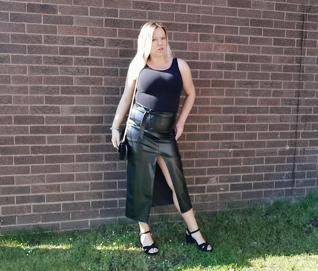 PU high split skirt
