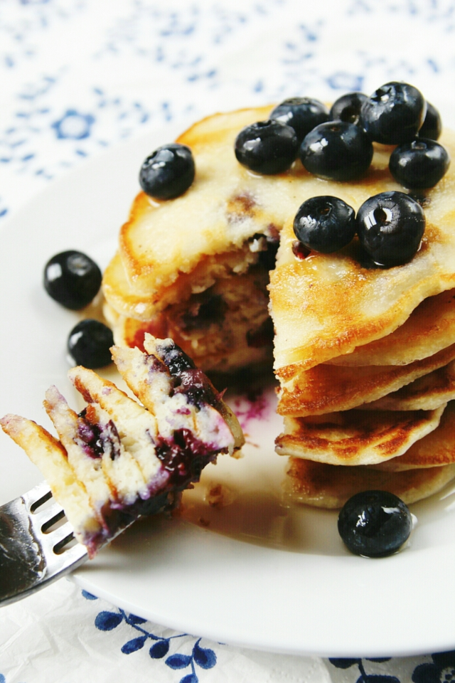 Thick and fluffy Blueberry Pancakes