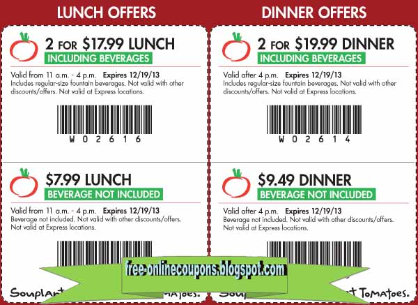 Discounts average $6 off with a Souplantation promo code or coupon. 22 Souplantation coupons now on RetailMeNot.