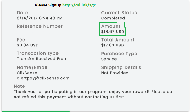 Clixsense Payment Proof 2017