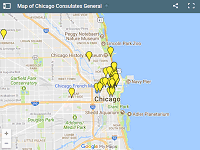 Map of Chicago Consulates General