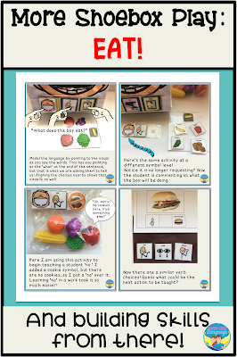 More ideas for shoebox play (EAT!) and how to develop skills from there!