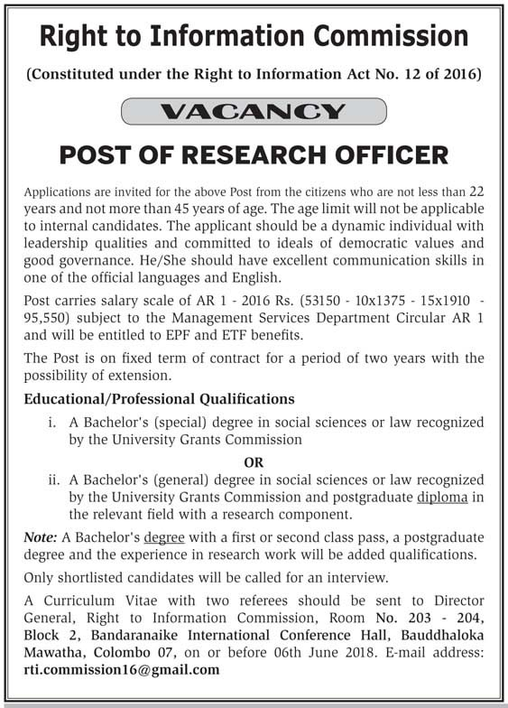 Research Officer Vacancies at Right To Information Commission