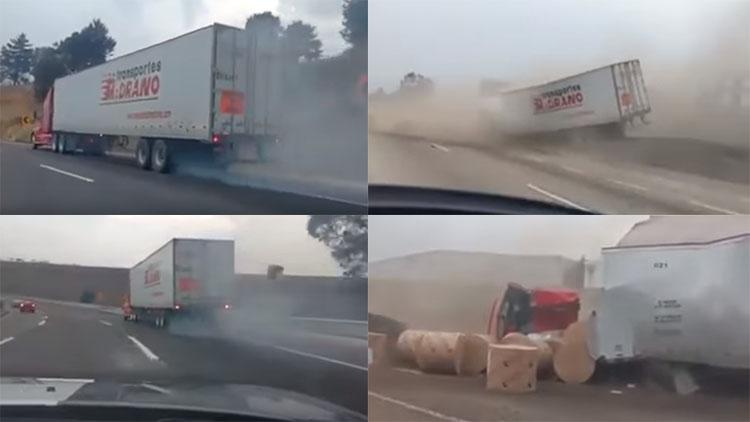 VIDEO: TRÁILER SE QUEDA SIN FRENOS EN LA AUTOPISTA MÉXICO-PUEBLA Y A 160 KM/H ES FRENADO POR LA RAMPA DE EMERGENCIA