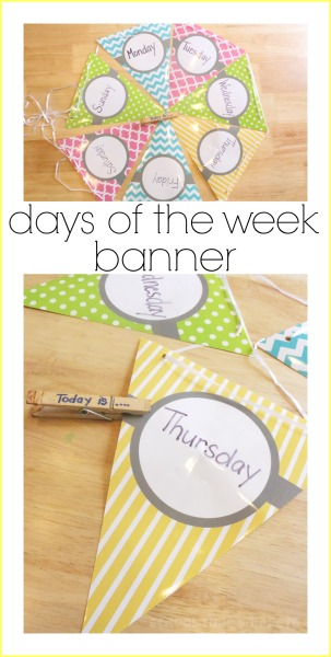 Simple and colorful way to teach your preschooler the days of the week!  Head to the Dollar Store now!