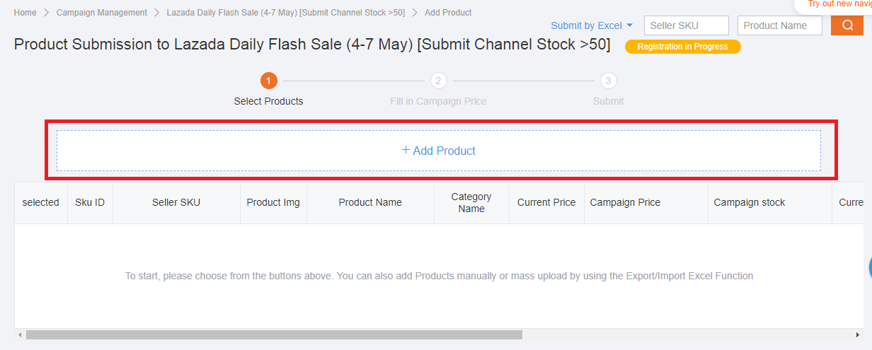 Submit product to join Lazada sale campaign
