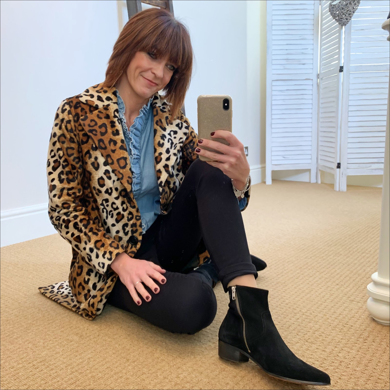 my midlife fashion, helene berman lila skinny leopard coat, isabel marant etoile frill chambray shirt, donna ida jeans, iro suede ankle boots