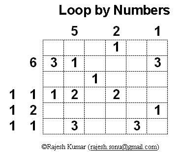 Logical Puzzles Printable: Loop By Numbers