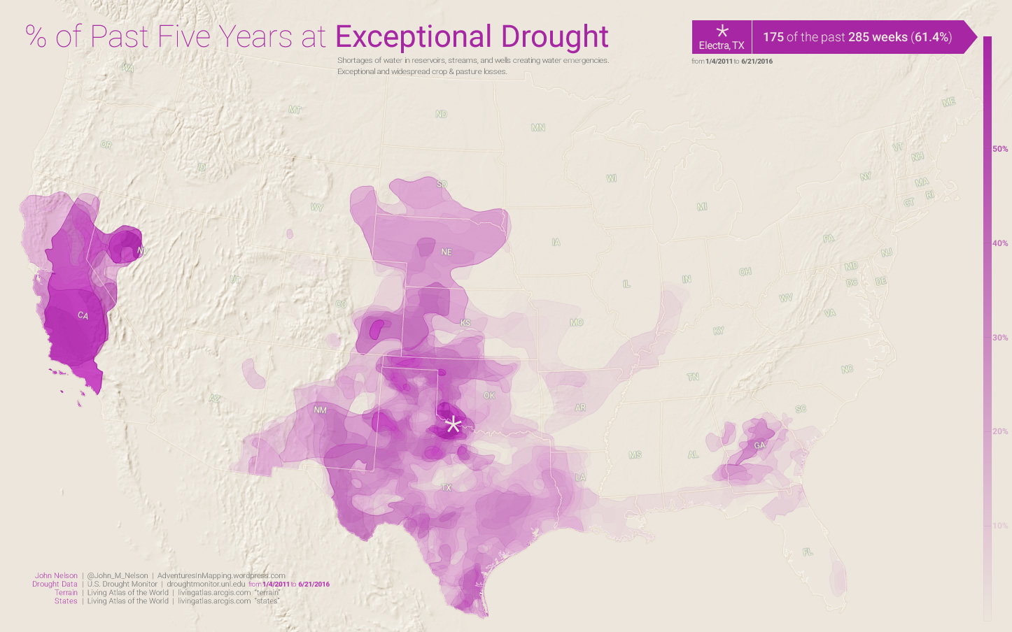 % of past 5 years at exceptional drought