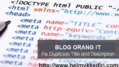 Memperbaiki Duplikat Title dan Deskripsi Blog1