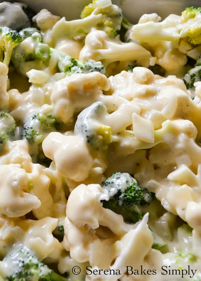 Cheesy Broccoli Cauliflower Casserole layered with homemade cheese sauce from Serena Bakes Simply From Scratch.