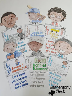 Black History Month Biography Set- February Activities and FREEBIES- activities for primary students- February reading, math, writing, social studies and more! Valentine's Day, Presidents Day, Black History Month, Dental Health Month