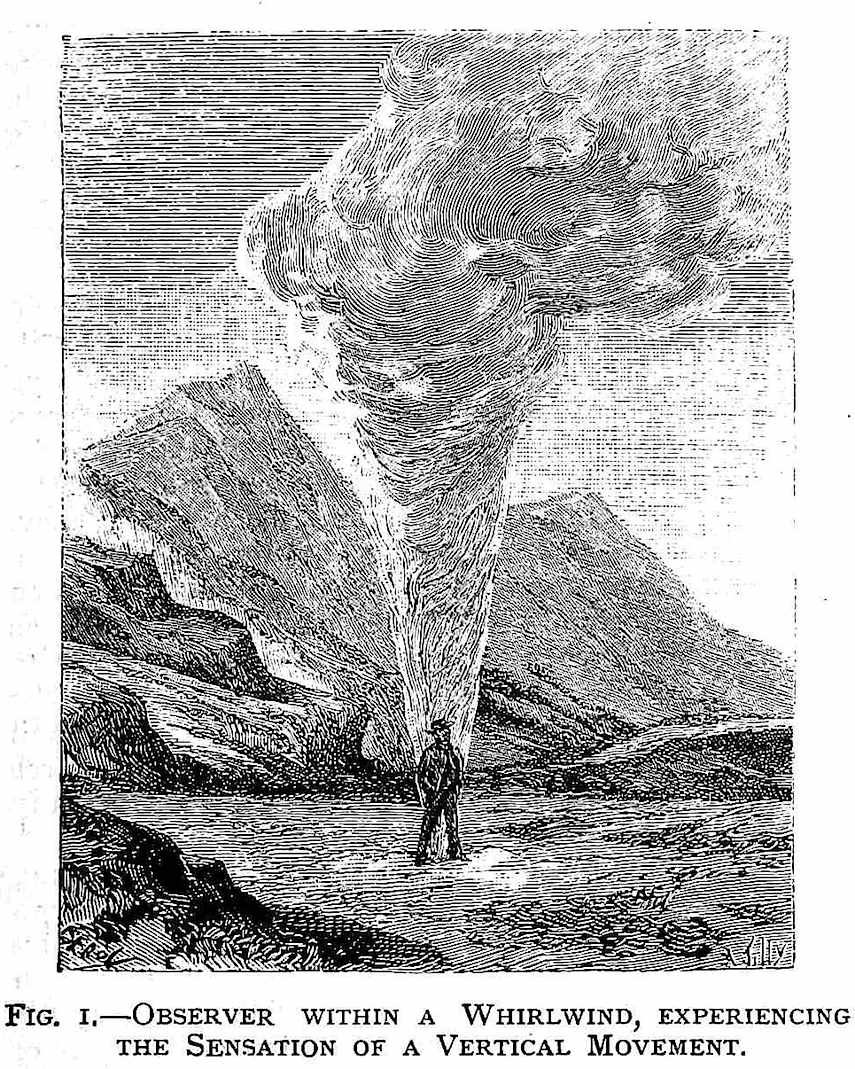 a man standinding in an 1886 whirlwind, illustration