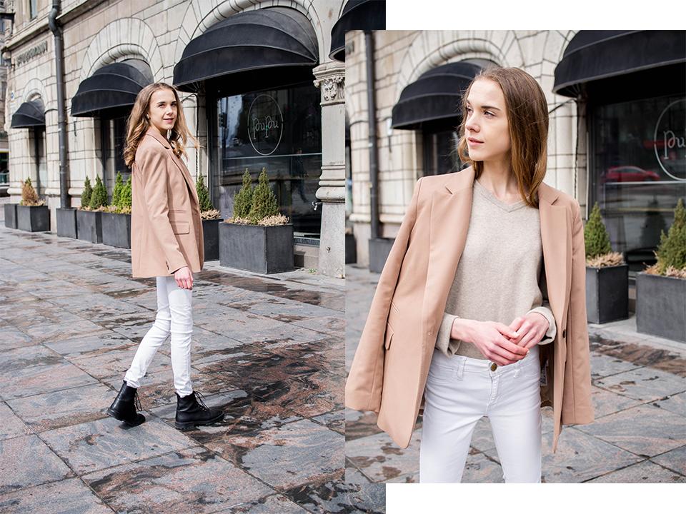 Neutral toned spring outfit with camel blazer and white skinny jeans - Neutraali kevätasu kamelinvärisen bleiserin ja valkoisten farkkujen kanssa