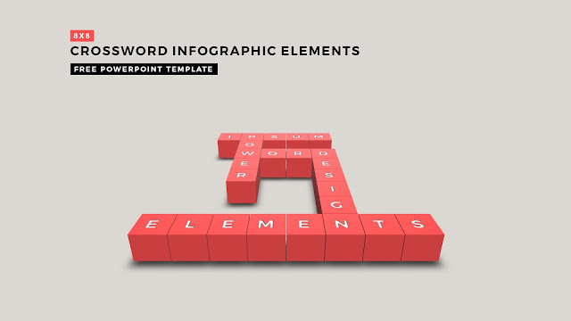 Crossword Puzzles Infographic Elements with 8x8 User's input of red color for PowerPoint Templates