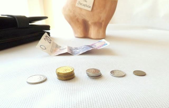 oszczędności pieniężne - bilon i banknoty oraz skarbonka i portfel