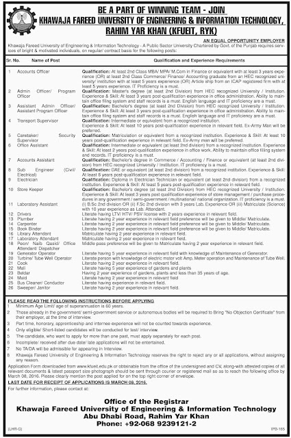 Admin & Accounts Jobs in Khawaja Fareed University of Engineering