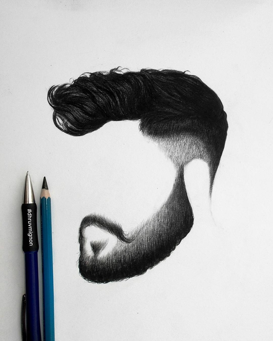 04-dhruvmignon-Minimalist-Realistic-Hair-Study-Drawings-www-designstack-co