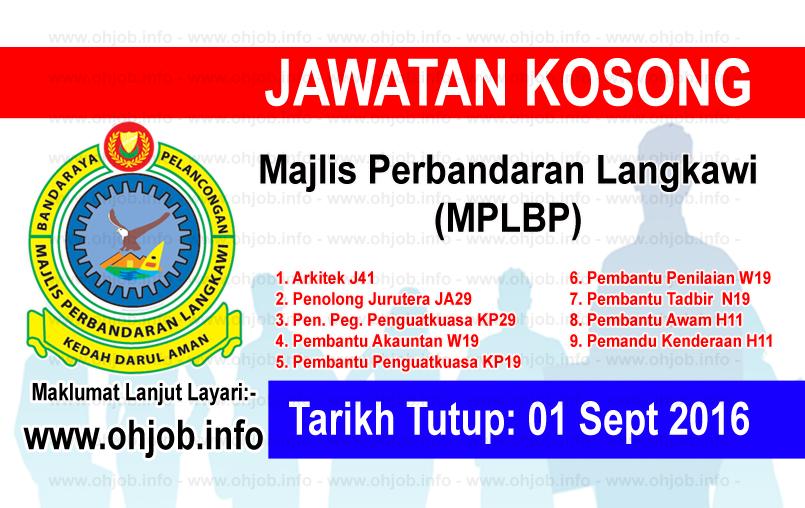 Jawatan Kerja Kosong Majlis Perbandaran Langkawi (MPLBP) logo www.ohjob.info september 2016