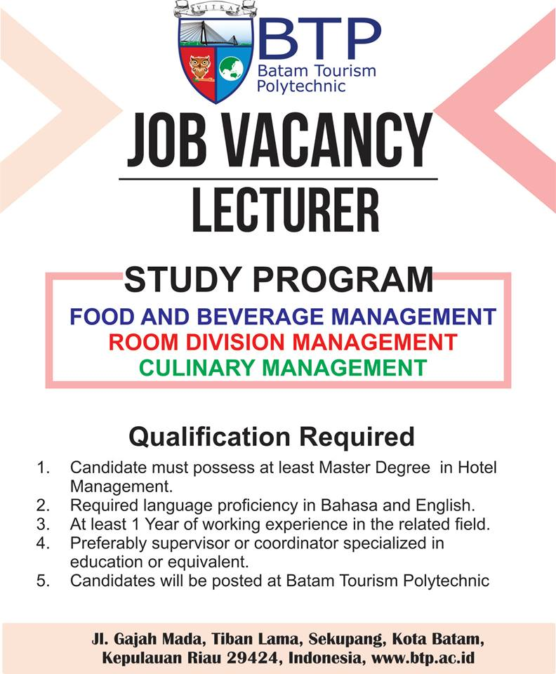 Lowongan Dosen Batam Tourism Polytechnic (BTP)