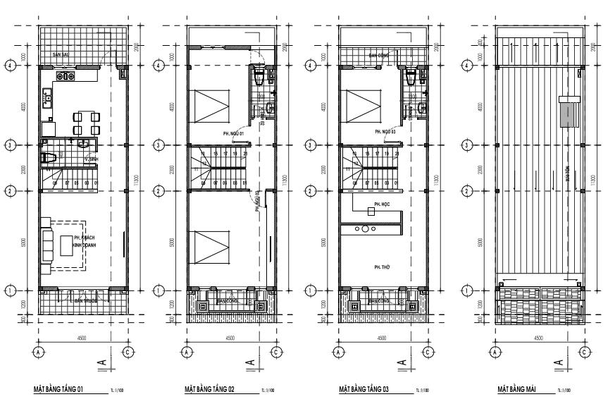 Mẫu nhà 4,5 x 12,9m - 1 trệt, 2 lầu