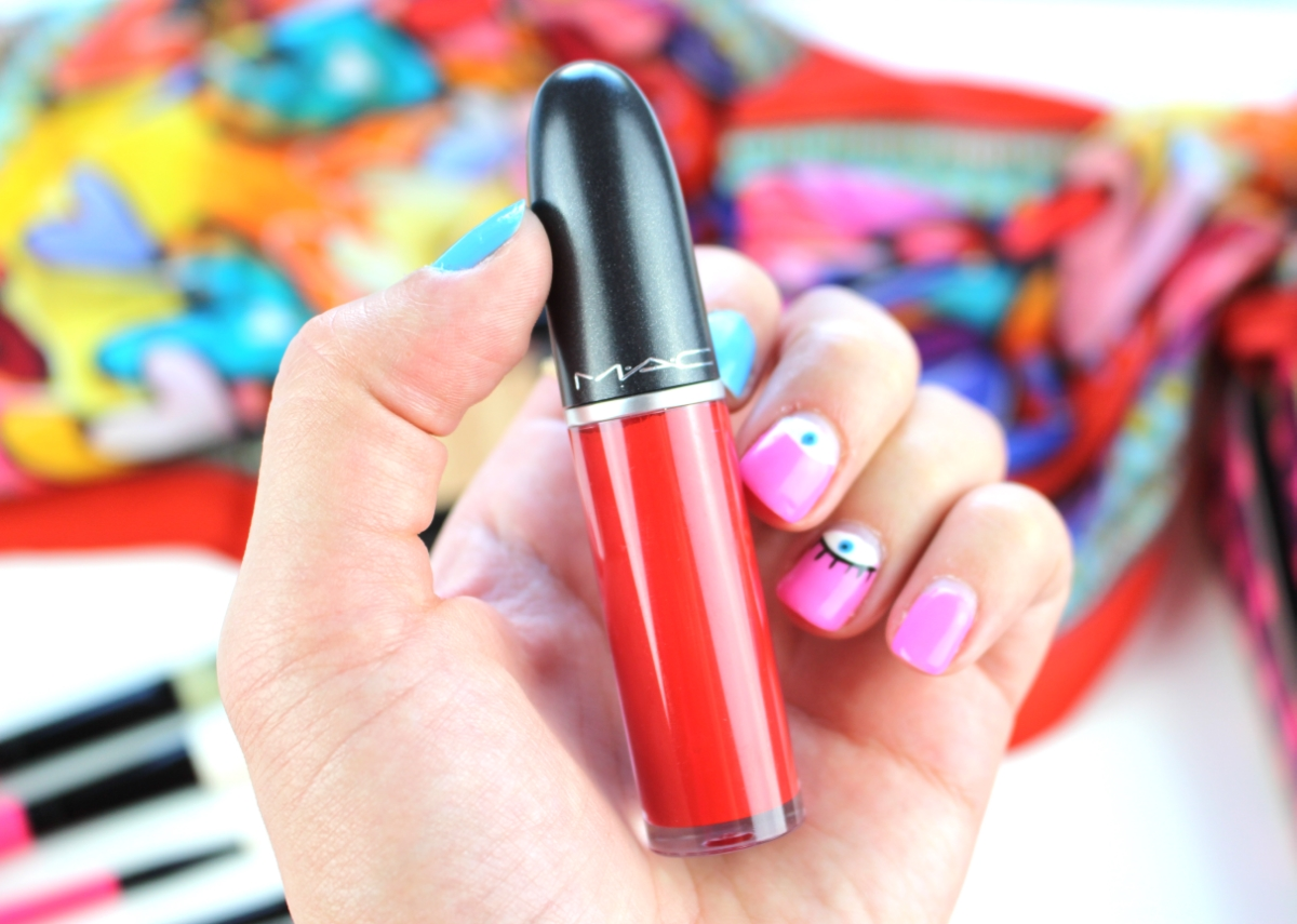 This is a close-up of the MAC Cosmetics Sweet Red Liquid Lipstick in the new Nutcracker Collection.