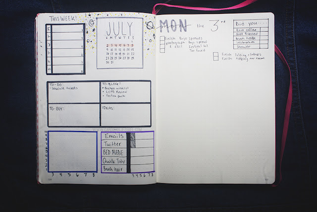 Bullet Journal Set Up July 2017 Photo challenge, brain dump, and weekly spread
