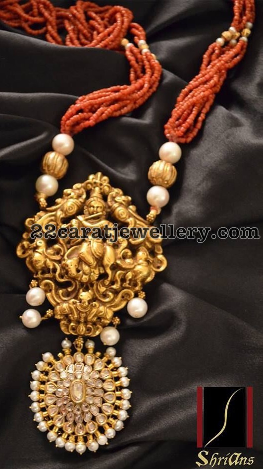 Coral Beads Set with Lord Krishna Pendant