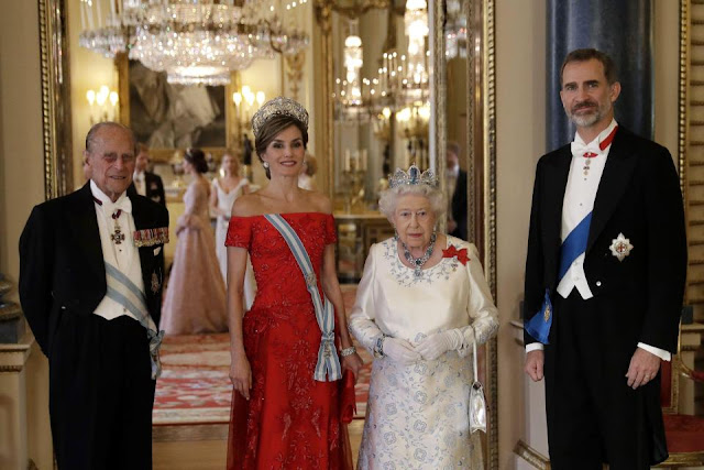 Prince Philip, Spain's Queen Letizia, the Queen and Spanish King Felipe VI