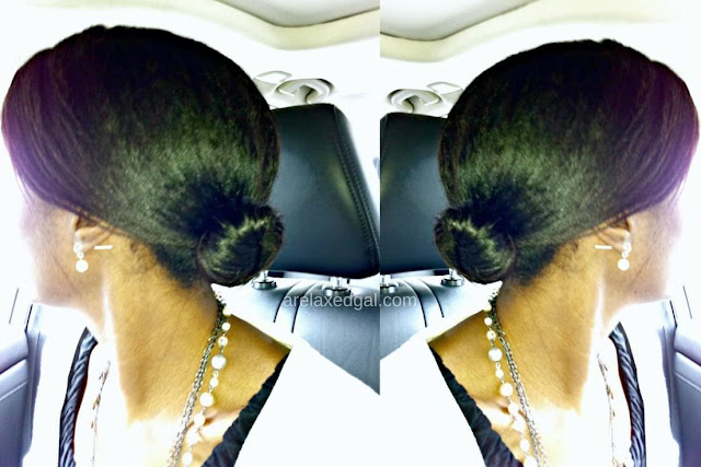 Relaxed hair wash day: Low bun 7 weeks post relaxer touch up | arelaxedgal.com