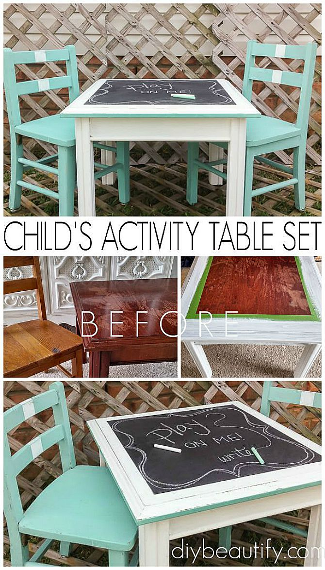 child's activity table and chairs from mismatched pieces