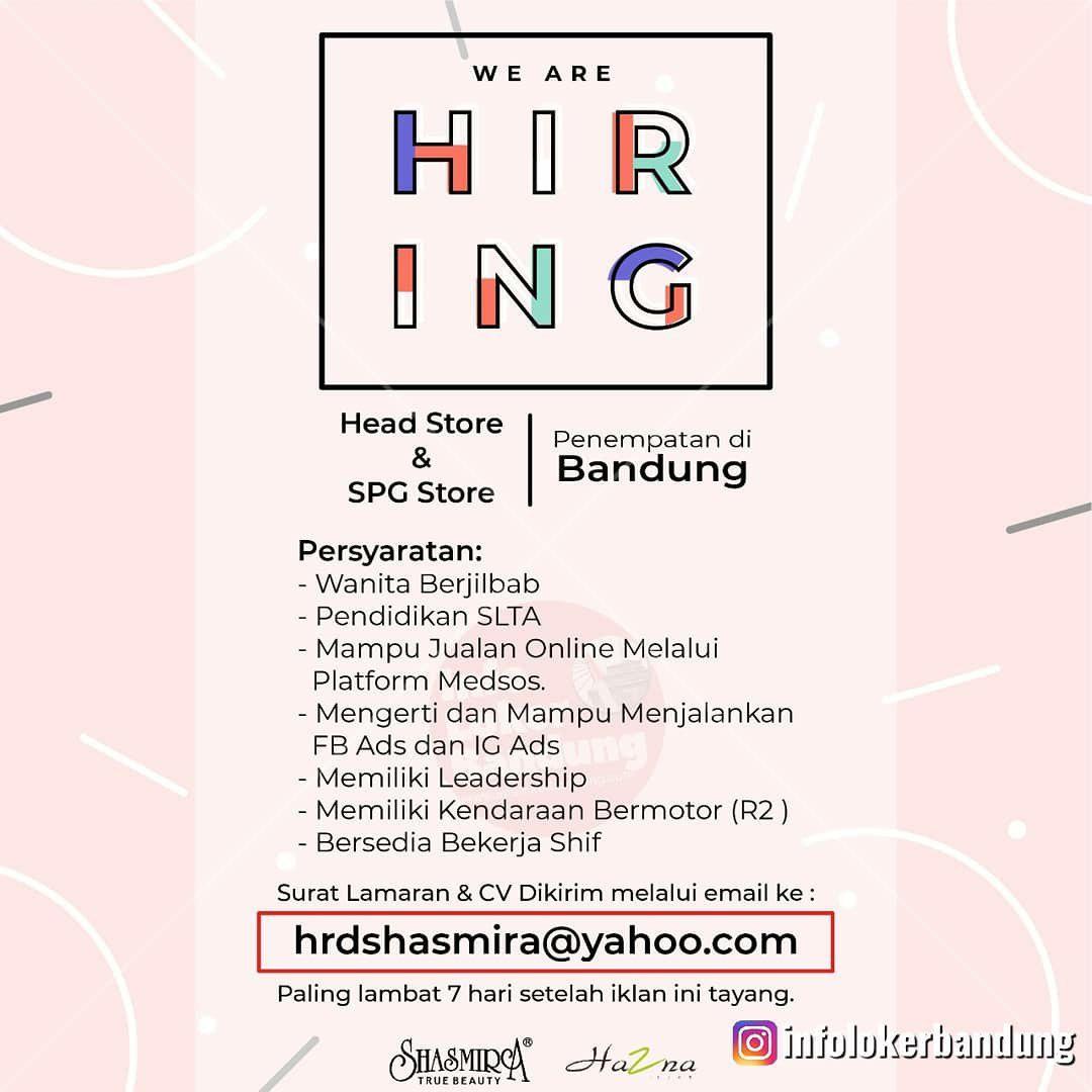 Lowongan Kerja Head Store & SPG Store Shasmira Bandung Mei 2019