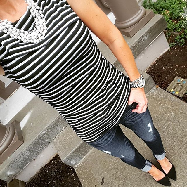 Striped Top via Marshall's (similar) // Express Distresses Legging Jeans - buy 1 get 1 for $30 // Madewell The Mira Heel Pumps on sale for $49 (reg $168) with code FLASH30 through 4/28 // Michael Kors Runway Watch - on sale! (very similar for only $20)