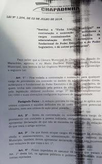 Lei da Ficha Limpa Municipal / Chapadinha (MA) pág 1